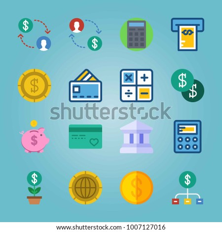 Icon set about Currency. with money, credit card and currency