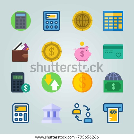 Icon set about Currency. with wallet, calculator and currency
