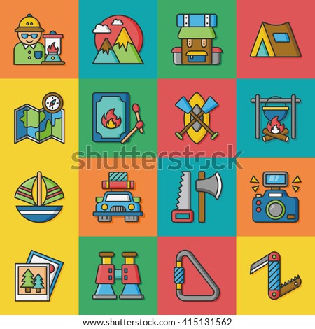 icon set adventure vector - stock vector