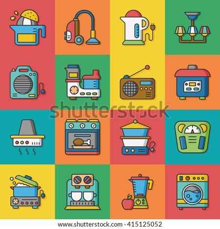 icon set appliances vector - stock vector