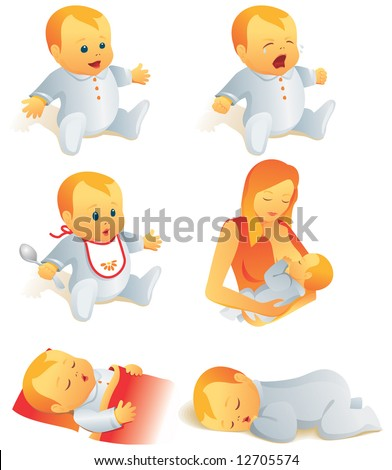 Icon set - babies cry, smile, eat, sleep, breast-feeding. Vector illustration. More of the series in portfolio. - stock vector