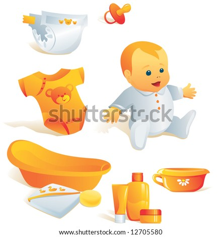 Icon set - baby hygiene. Bath, towel, sponge, bodysuit, nappy, cosmetics, pacifier, pot. Vector illustration. More of the series in portfolio. - stock vector
