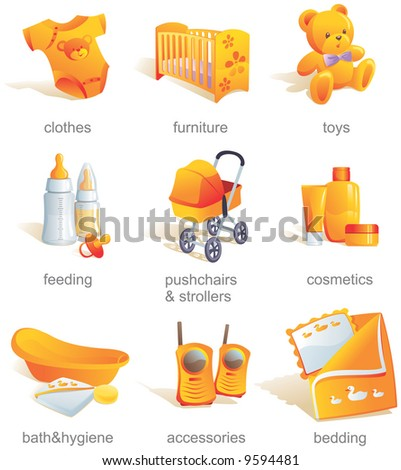 Icon set - baby shopping, clothes, furniture, toys, feeding, pushchairs, cosmetics, bath, hygiene, accessories, bedding. Aqua style. Vector illustration - stock vector