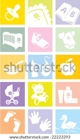 Icon set - baby shopping, clothes, shoes, books, furniture, toys, feeding, pushchairs, cosmetics, bath, hygiene, accessories, bedding.  Vector illustration - stock vector
