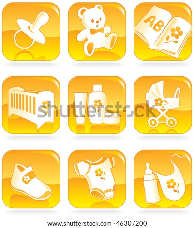 Icon set - baby shopping, clothes, shoes, books, furniture, toys, feeding, pushchairs, cosmetics, hygiene, accessories.  Vector illustration - stock vector