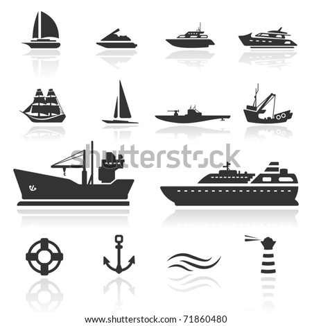 Icon set  Boats - stock vector