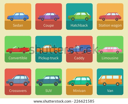 Icon Set Car Body Styles Made Stock Vector 226621585 - Shutterstock