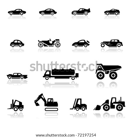 Icon set  Cars and Industrial Vehicles - stock vector