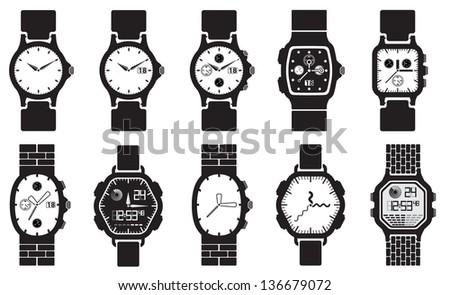 Icon set clocks, vector illustration - stock vector