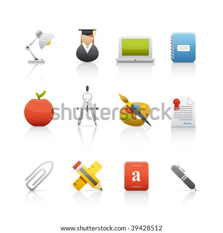 Icon Set - Education. Set of icons on white background in Adobe Illustrator EPS 8 format for multiple applications. - stock vector