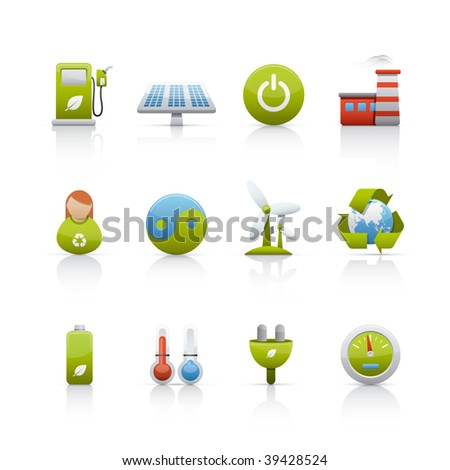 Icon Set - Environmental Conservation. Set of icons on white background in Adobe Illustrator EPS 8 format for multiple applications. - stock vector