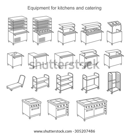 Icon set equipment for kitchens and catering. Icon catering showcase for food. Icon oven. Icon trolley cupboards. Icon stand for utensils - stock vector