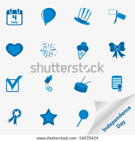 Icon set for Independence Day. Vector illustration. - stock vector