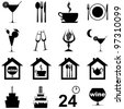 icon set for restaurant, cafe and bar isolated on white background. Vector Illustration - stock vector