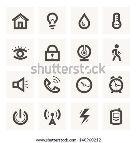 Icon set for security system and house automation. Light set 1. - stock vector