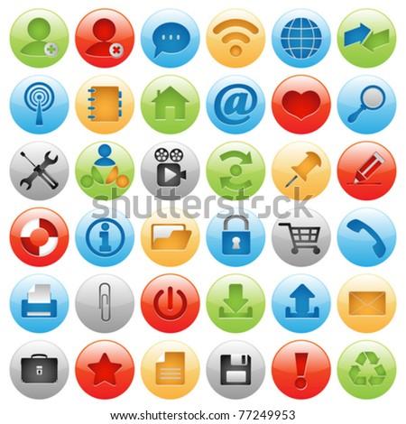icon set for web design - stock vector