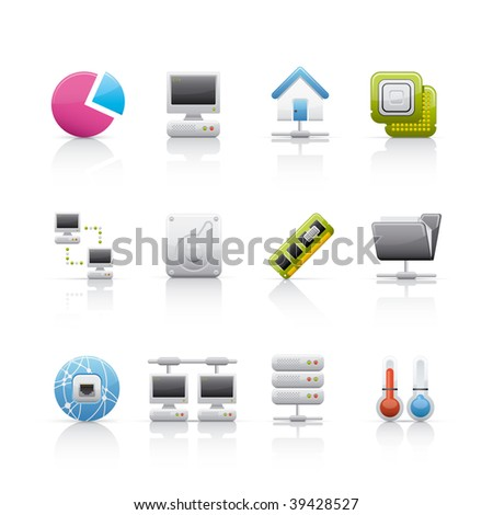 Icon Set - Hardware and connections. Set of icons on white background in Adobe Illustrator EPS 8 format for multiple applications. - stock vector