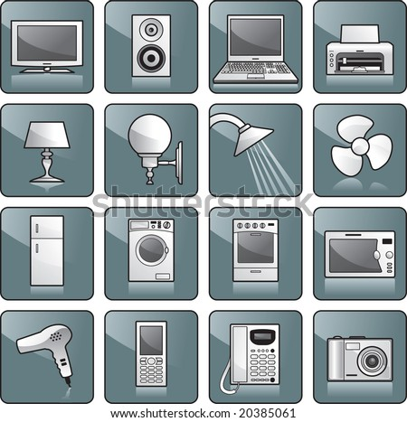 Icon set - home appliances: TV, stereo, computer, printer, lamp, shower, fan, fridge, washing machine, stove, microwave oven, hairdryer, cell phone, telephone, digital camera. Vector illustration - stock vector