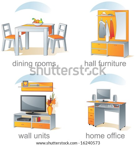 Icon set - home furniture, dining rooms, hall, wall units, home office. Aqua style. Vector illustration, part 2 - stock vector