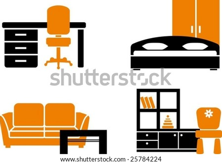 Icon set - home furniture items - stock vector