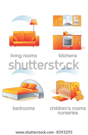 Icon set - home, furniture, living rooms, kitchens, bedrooms, children's rooms, nursery. Aqua style. Vector illustration - stock vector