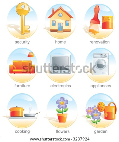 Icon set, home, key, renovate, furniture, electronics, appliance, cook, flower, garden. Aqua style - stock vector