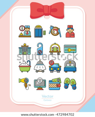icon set hotel vector