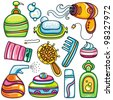 Icon set hygiene accessories.Vector series of design elements or icons and accessories, relating to personal hygiene, beauty, cosmetics, hair care etc - stock photo
