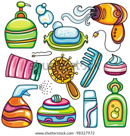 Icon set hygiene accessories.Vector series of design elements or icons and accessories, relating to personal hygiene, beauty, cosmetics, hair care etc