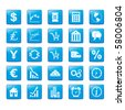 Icon set in blue style for markets. - stock photo