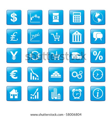 Icon set in blue style for markets. - stock vector
