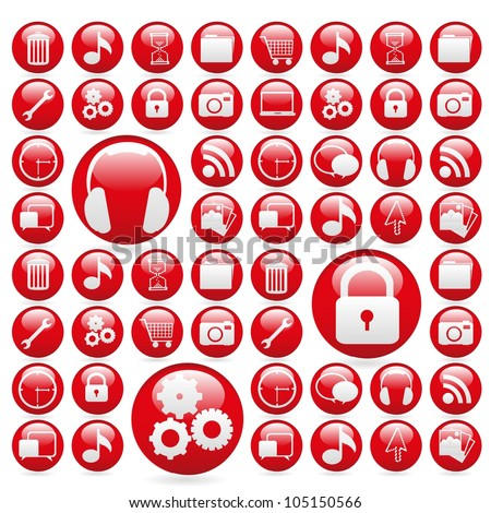 icon set in red gelatin spheres, vector illustration - stock vector