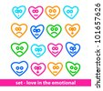 Icon set - love in the emotional - the heart of a person - stock vector