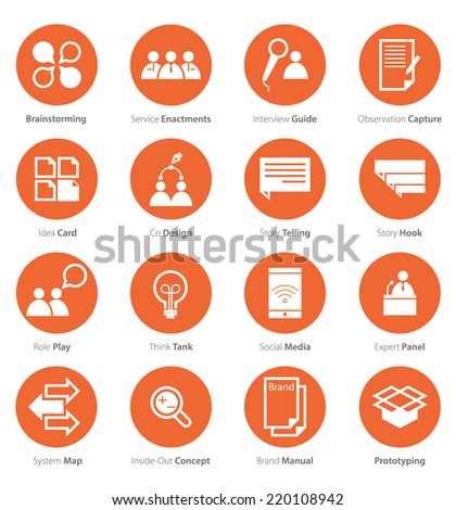 Icon Set of Business Career , Marketing in Flat Design, Minimal Style, Vector  - stock vector