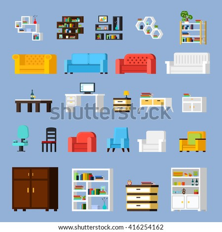 Icon set of different furniture elements for living room cabinet or hall orthogonal isolated vector illustration - stock vector