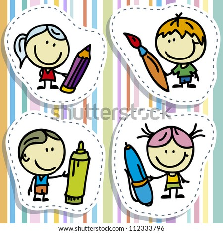 Icon set of doodle happy children with pen, pencil and paintbrush - stock vector