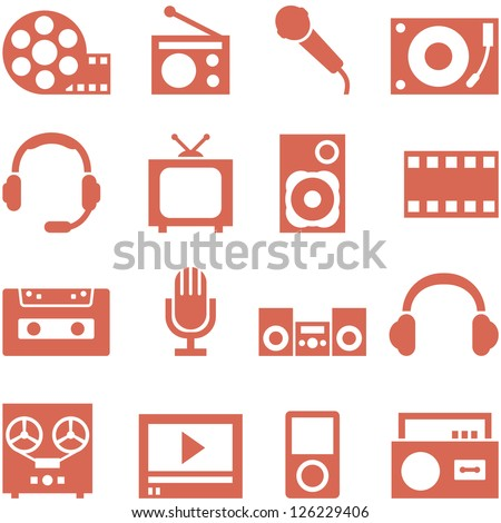 Icon set of gadgets and devices in a retro style. File in EPS10 format, that can be scaled to any size without loss of quality. - stock vector