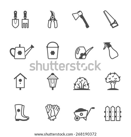 Icon set of garden tools and accessories. Vector illustration - stock vector