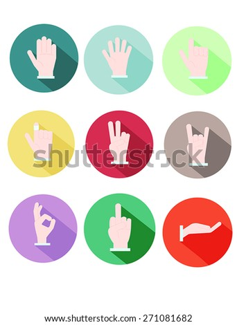 Icon set of Hands with Colorful, Circle-shaped Background
