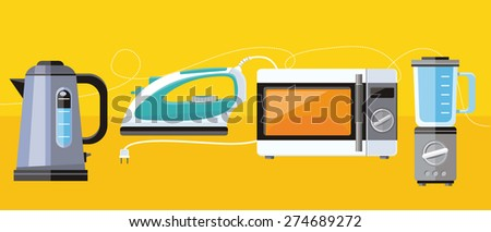 Icon set of home appliance microwave, iron, kettle, blender in flat design  - stock vector