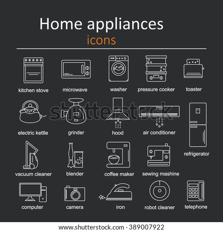 Icon set of home appliances. - stock vector