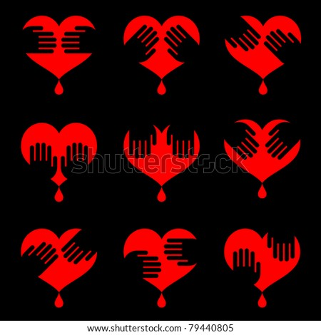 icon set of human hearts with hands on it isolated on black - stock vector