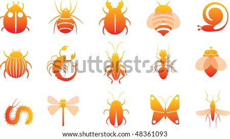 icon set of insects - stock vector