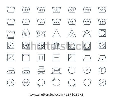 Icon set of laundry and textile care symbols and signs - stock vector