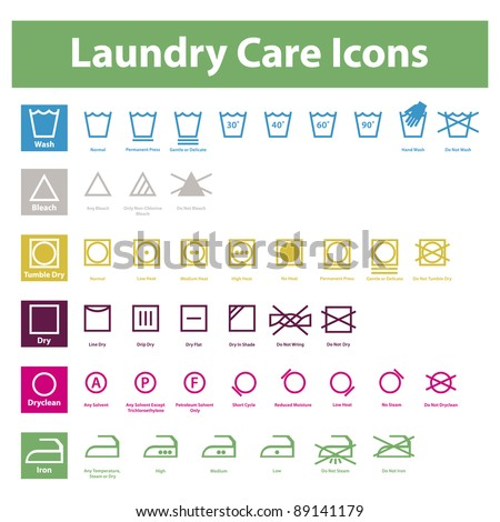 Icon set of laundry symbols - stock vector