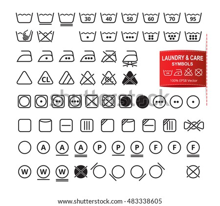 Icon Set Laundry Symbols Modern Thin Stock Vector 483338605