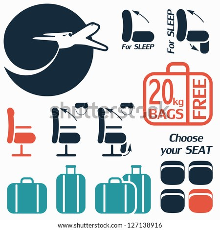 Icon set of luggage and seats for travel by plane - stock vector