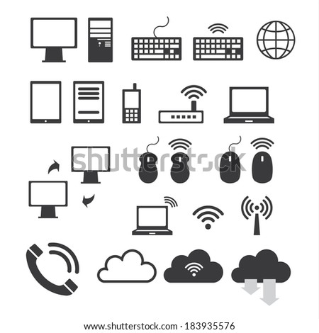 Icon set of mobile devices , computer and network connections - stock vector