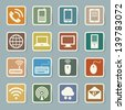 Icon set of mobile devices , computer and network connections ,Illustration eps 10 - stock photo