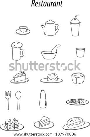 icon set of restaurant items
